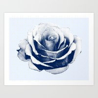 HALFTONE ROSE Art Print