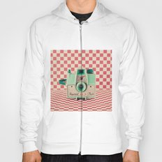 Mint Retro Camera on Red Chequered Background  Hoody