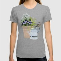 Pansies In A Pot Womens Fitted Tee Tri-Grey SMALL