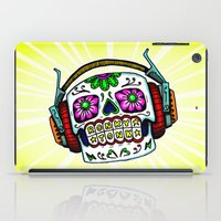 Sugar Skull with Headphones Zombie by RonkyTonk iPad Case