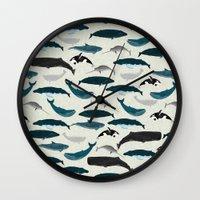 Whales and Porpoises sea life ocean animal nature animals marine biologist Andrea Lauren Wall Clock