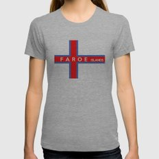 faroe islands country flag name text Womens Fitted Tee Athletic Grey SMALL