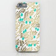 Gold & Turquoise Olive B… iPhone 6 Slim Case