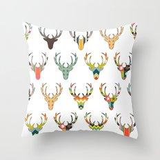 retro deer head white Throw Pillow