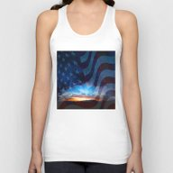 Sunset And American Flag… Unisex Tank Top