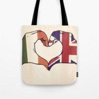 One Direction Inspired UK/Irish Love Heart Tote Bag
