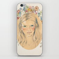 Girl With Flower Frame iPhone & iPod Skin