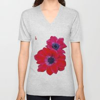 Velvet Red Poppy Anemone I Unisex V-Neck