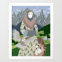 Lady with an owl and a dog Art Print