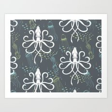 Ghostly Squid Damask Art Print
