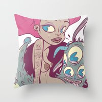 Babes&Monsters Throw Pillow