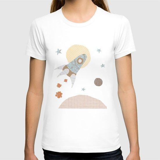 spaceship collage T-shirt