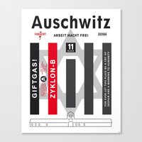 Auschwitz. Never again. Canvas Print