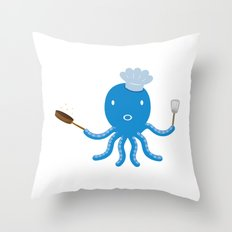 Octopus shef Throw Pillow