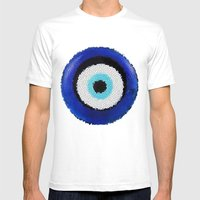 Blue Eye Luck Mens Fitted Tee White SMALL