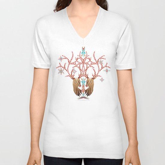 christmas deer V-neck T-shirt