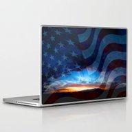 Sunset And American Flag… Laptop & iPad Skin
