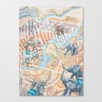 Elephant football game Canvas Print