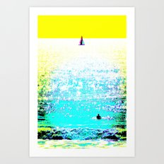 Sailboat and Swimmer (2c) Art Print