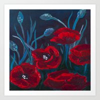 Crimson Poppies Art Print