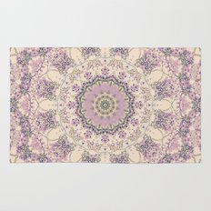 47 Wisteria Circle - Vintage Cream and Lavender Purple Mandala Rug
