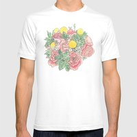 Succulent Watercolor Bouquet Mens Fitted Tee White SMALL
