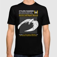 Cylon Raider Service and Repair Manual Mens Fitted Tee Black SMALL