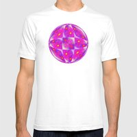 Bright Pink Sketch Flowe… Mens Fitted Tee White SMALL