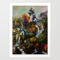 Wasserfall In Antiochea  Art Print