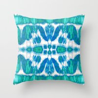 Tie-Dye Twos Aqua Throw Pillow