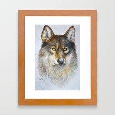 Watercolor wolf Framed Art Print