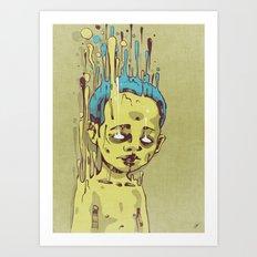 The Golden Boy with Blue Hair Art Print
