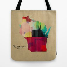 Wisconsin state map Tote Bag