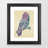 Owl King Color Framed Art Print