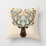 Blooming Deer Spring Throw Pillow
