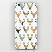 retro deer head white iPhone & iPod Skin