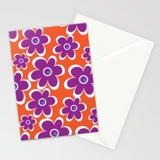 retro purple flower Stationery Cards