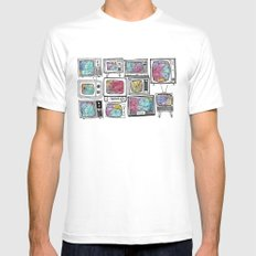 colour tv SMALL White Mens Fitted Tee