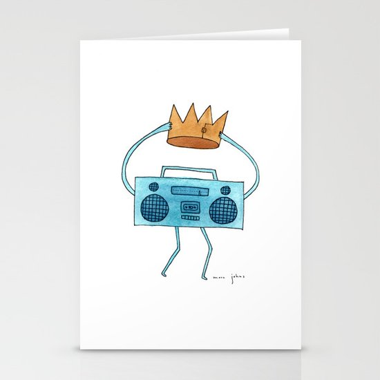boombox holding a paper crown Stationery Card