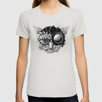 Owl Day & Owl Night Womens Fitted Tee Silver SMALL