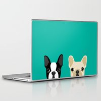 french Laptop & iPad Skins featuring Boston Terrier & French Bulldog 2 by Anne Was Here