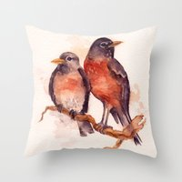Two Robins Throw Pillow