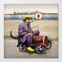 Barkin' Down the Highway! Canvas Print