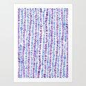 Hand Painted Herringbone Pattern in Purple & Blue Art Print