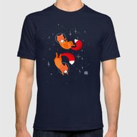 Space Foxes Mens Fitted Tee Navy SMALL