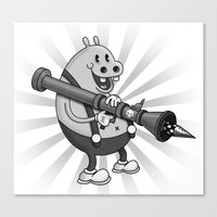 Retro Cartoon Hippo Canvas Print
