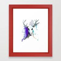 Christmas Watercolor Reindeer Framed Art Print