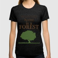 My Second Home is a Forest Womens Fitted Tee Tri-Black SMALL