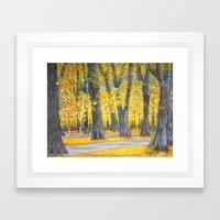 Golden park Framed Art Print