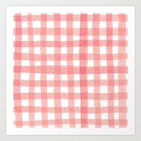 Gingham Watermelon Art Print